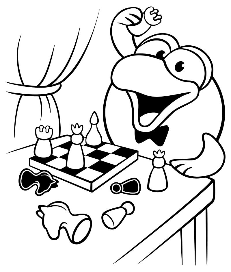 Раскраска - Смешарики - Кар-Карыч играет в шахматы | MirChild
