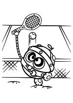Раскраска - Смешарики - Биби играет в теннис