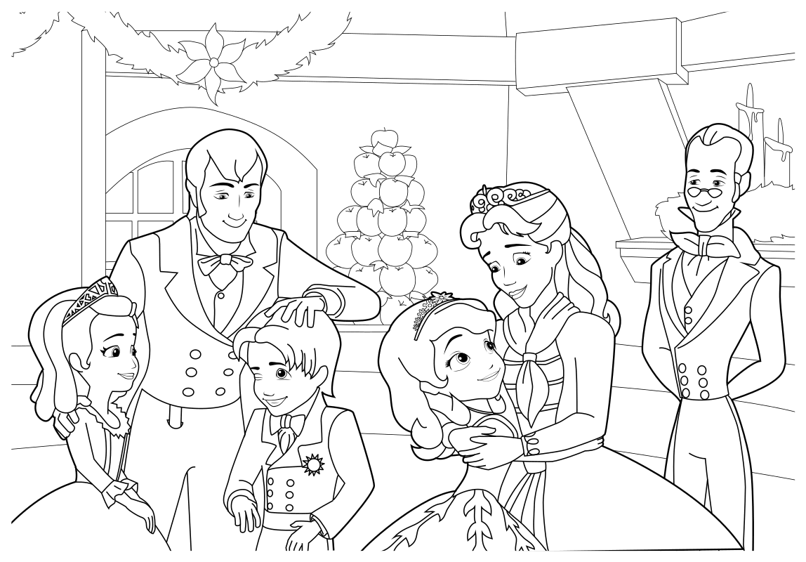 Раскраска Праздник Софии с семьёй