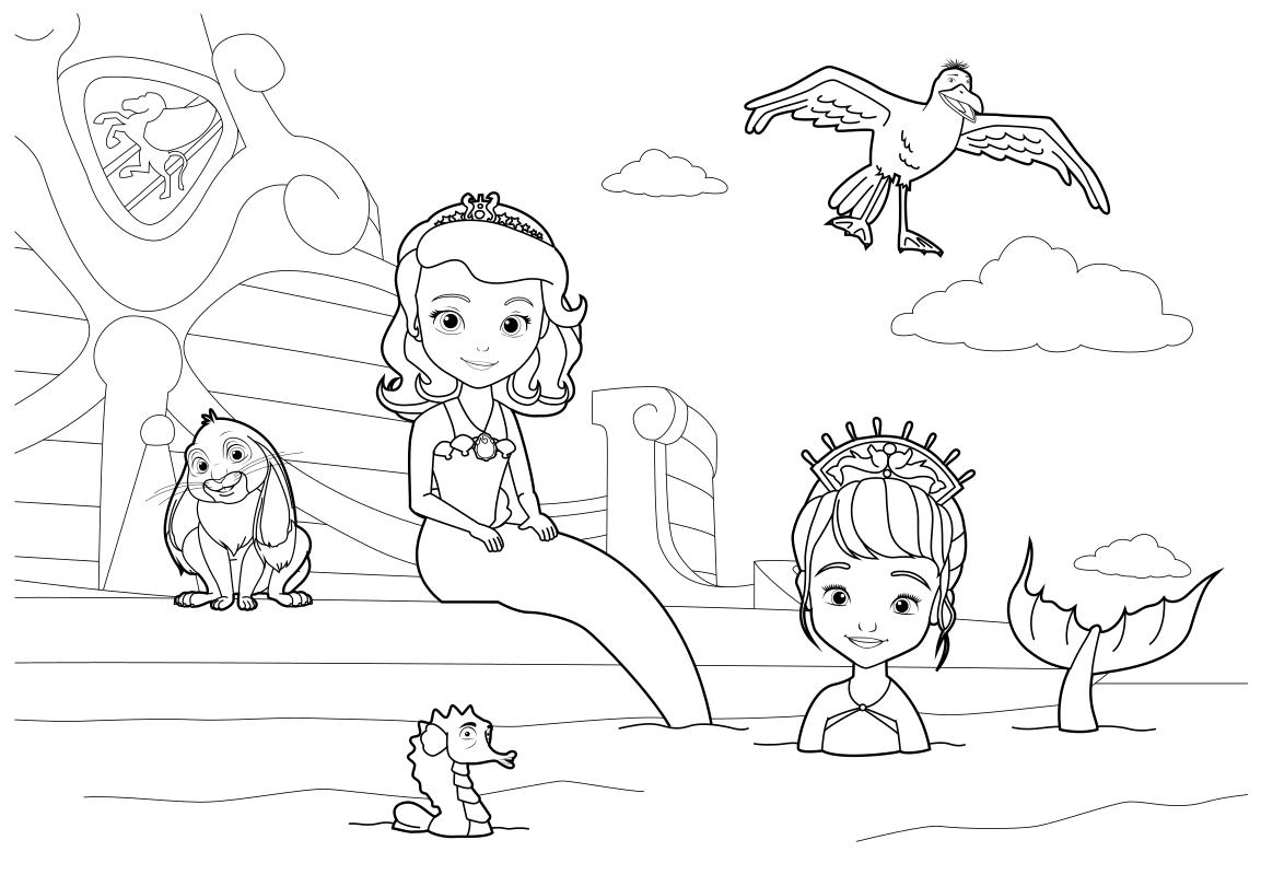 Раскраска Плавучий дворец София и Уна