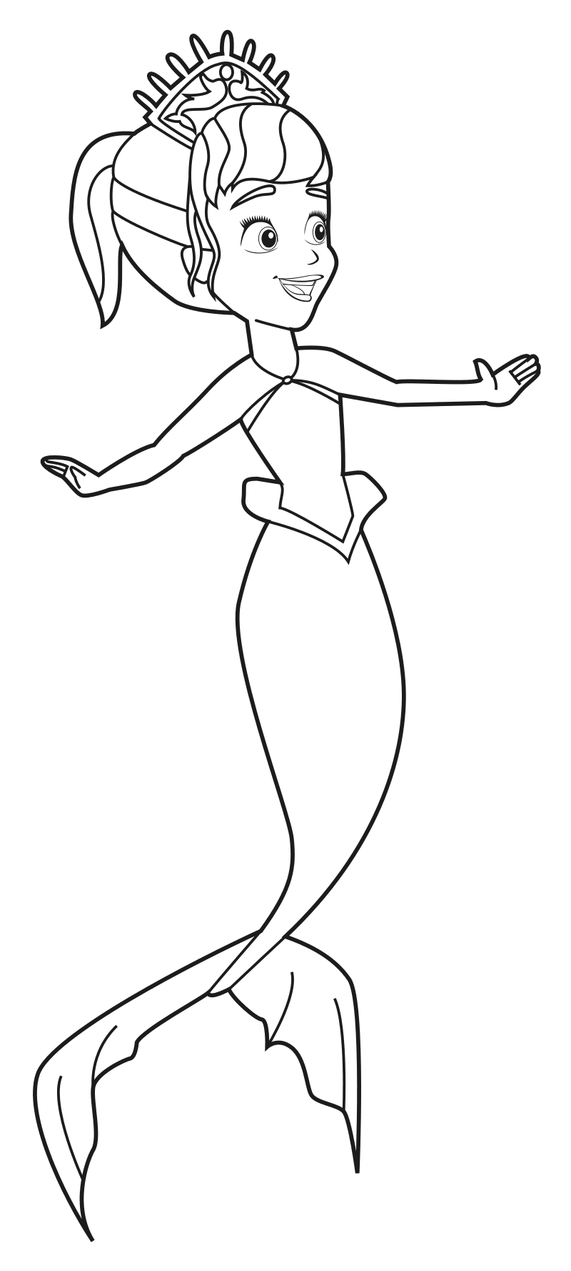 Раскраска Принцесса Уна русалка