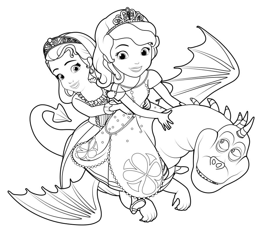 Раскраска Принцессы София и Эмбер на драконе