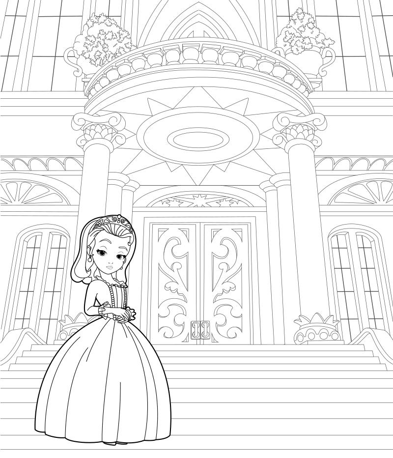 Раскраска Принцесса Эмбер у дворца