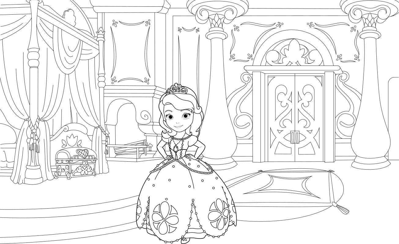 Раскраска - София Прекрасная - Принцесса София во дворце