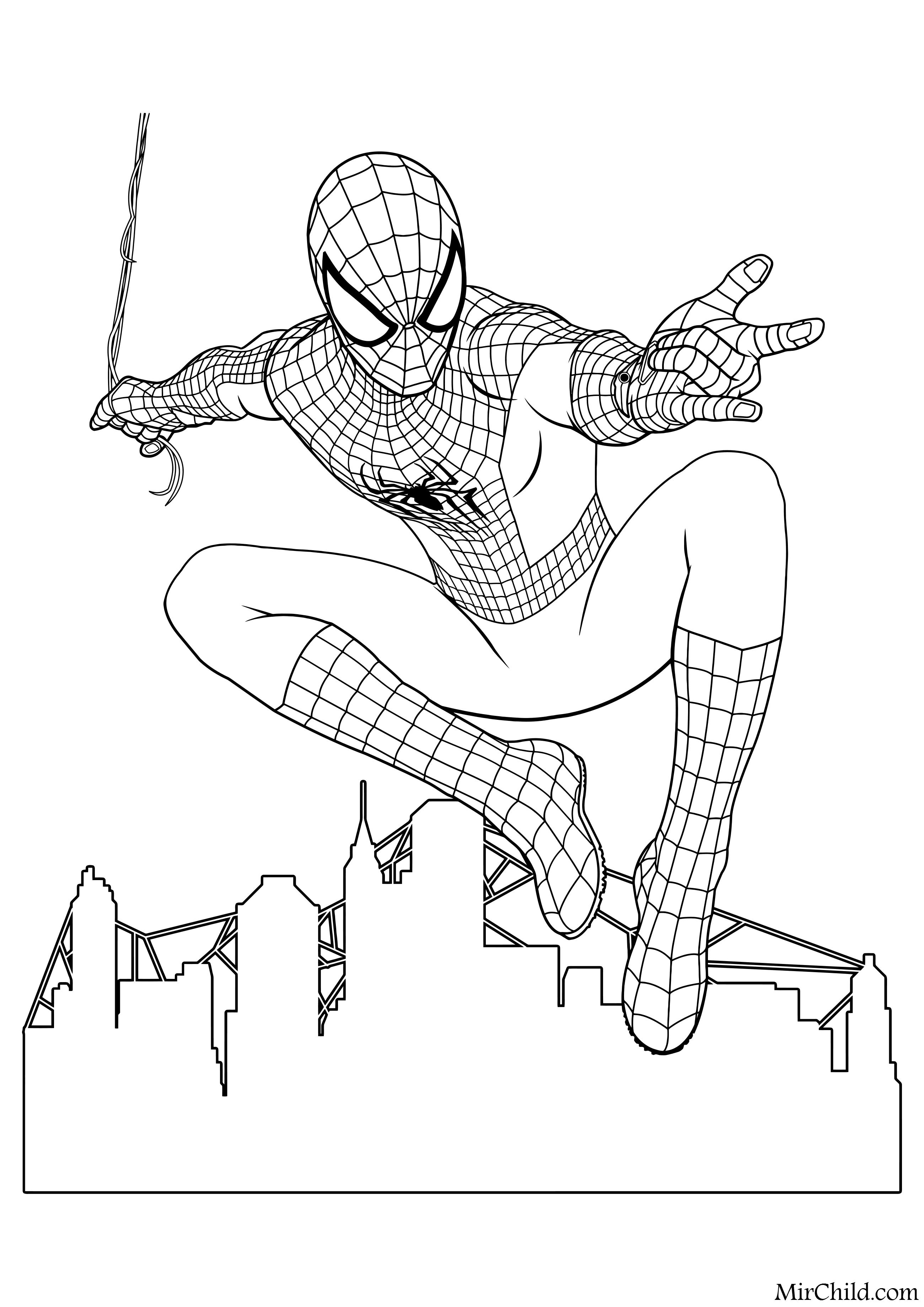 Раскраска - Совершенный Человек-паук - Человек-паук над ...