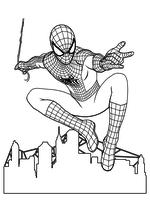 Раскраска - Совершенный Человек-паук - Человек-паук над городом