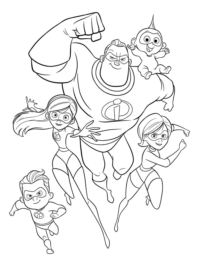 Раскраска - Суперсемейка 2 - Дэш, Виолетта, Боб, Джек-Джек и Хелен