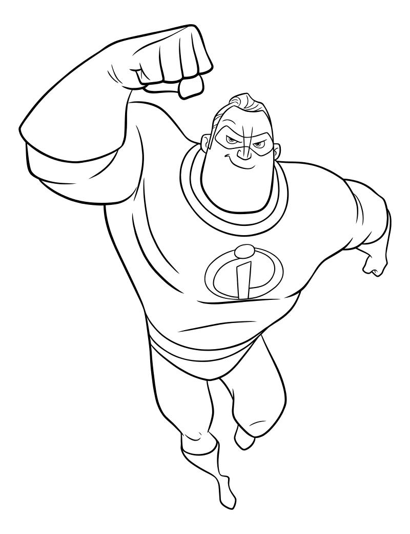 Раскраска - Суперсемейка 2 - Мистер Исключительный