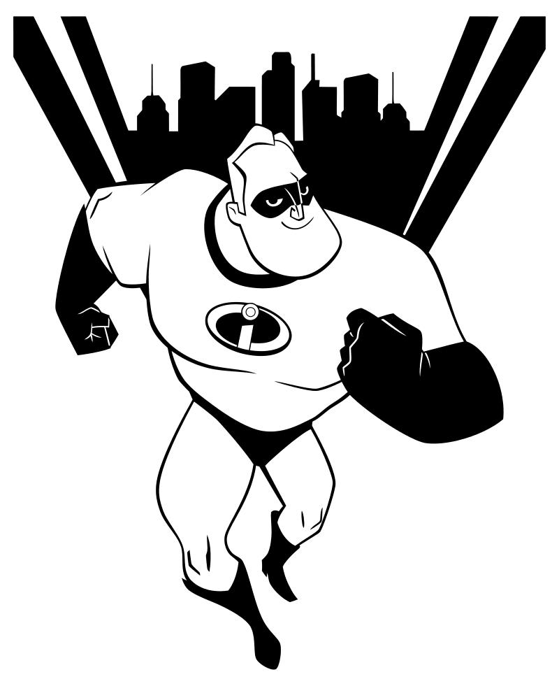 Раскраска - Суперсемейка 2 - Боб Парр - Супергерой