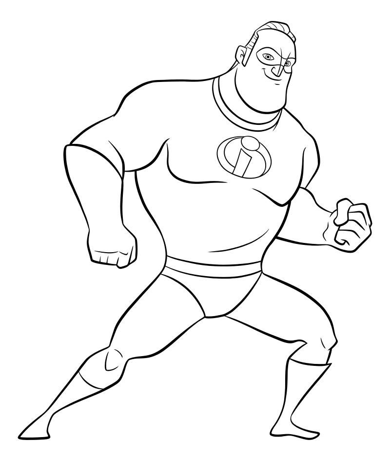 Раскраска - Суперсемейка 2 - Супергерой Боб Парр