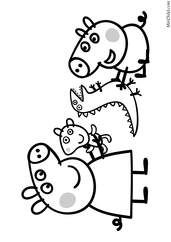 Раскраска - Свинка Пеппа - Свинка Пеппа и Поросёнок Джордж ...