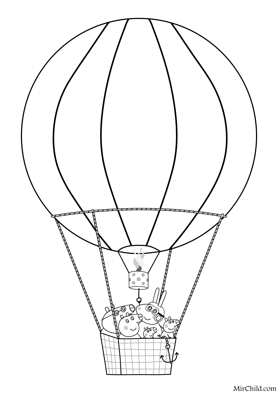 Раскраска - Свинка Пеппа - Свинка Пеппа - Воздушные шары ...