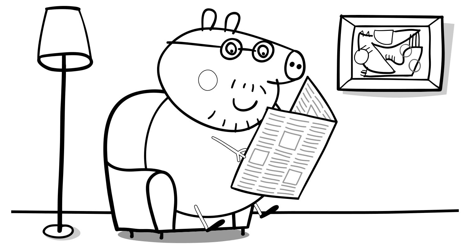 Раскраска свинка пеппа папа свин 25