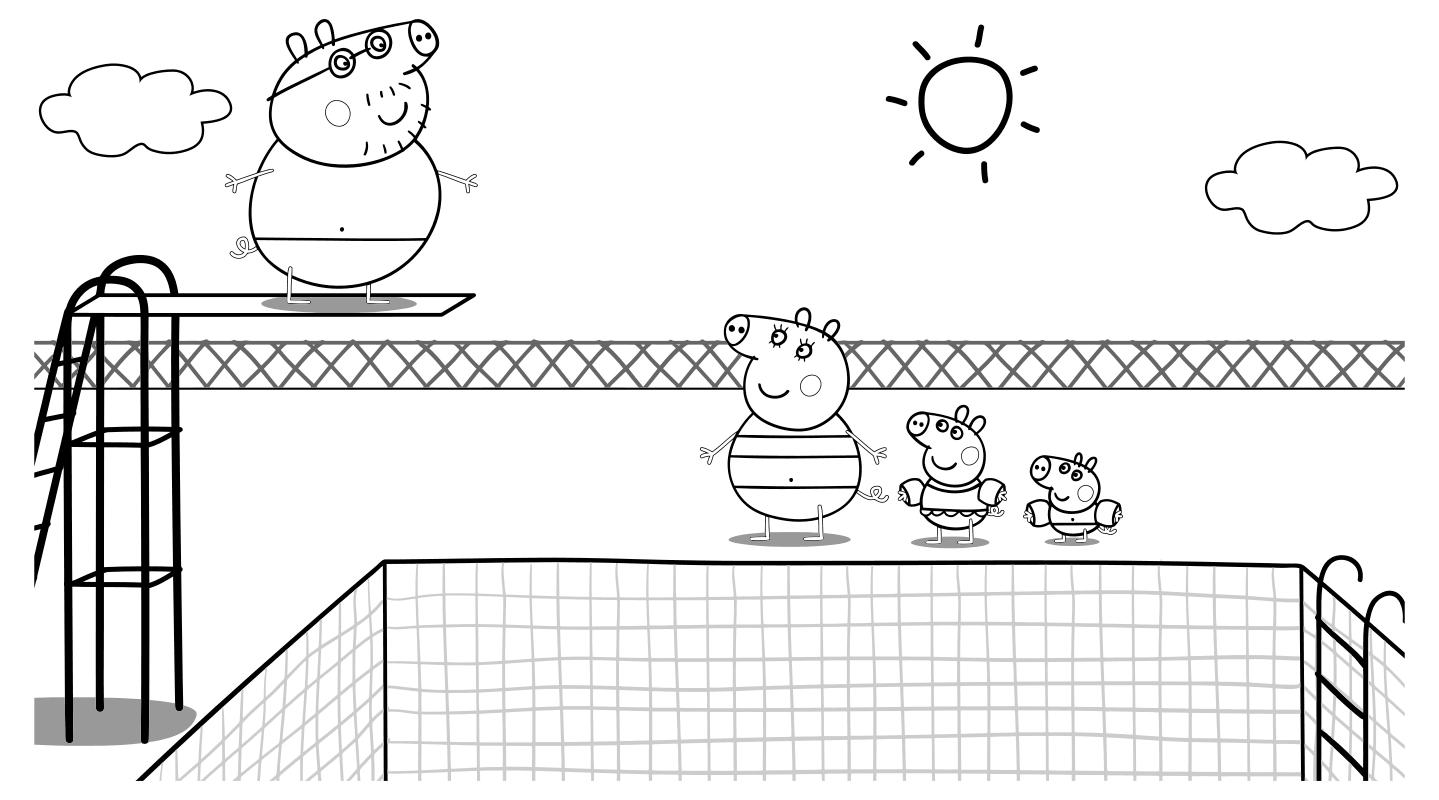 Раскраска - Свинка Пеппа - Папа Свин с семьёй в бассейне ...