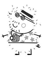 Раскраска - Свинка Пеппа - Папа Свин - турист по точкам