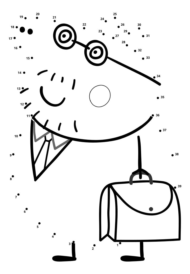 Раскраска - Свинка Пеппа - Папа Свин с портфелем по точкам ...