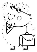 Раскраска - Свинка Пеппа - Папа Свин с портфелем по точкам