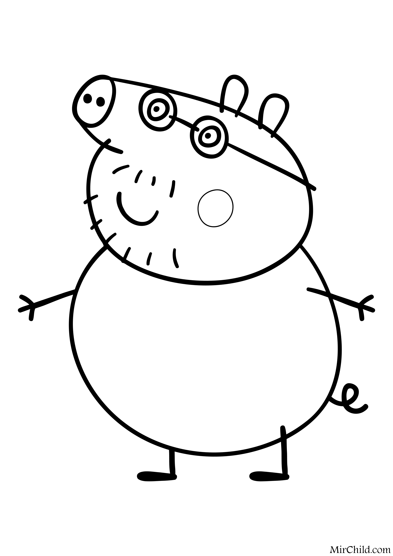 Раскраска - Свинка Пеппа - Папа Свин | MirChild