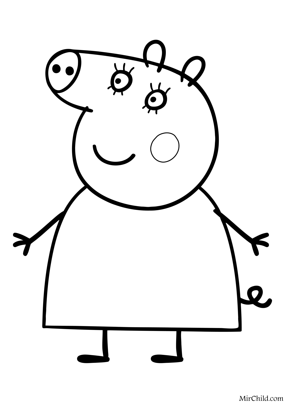 Раскраска - Свинка Пеппа - Мама Свинка | MirChild