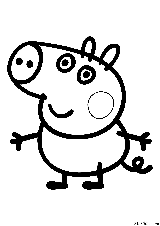 Раскраска - Свинка Пеппа - Поросёнок Джордж | MirChild