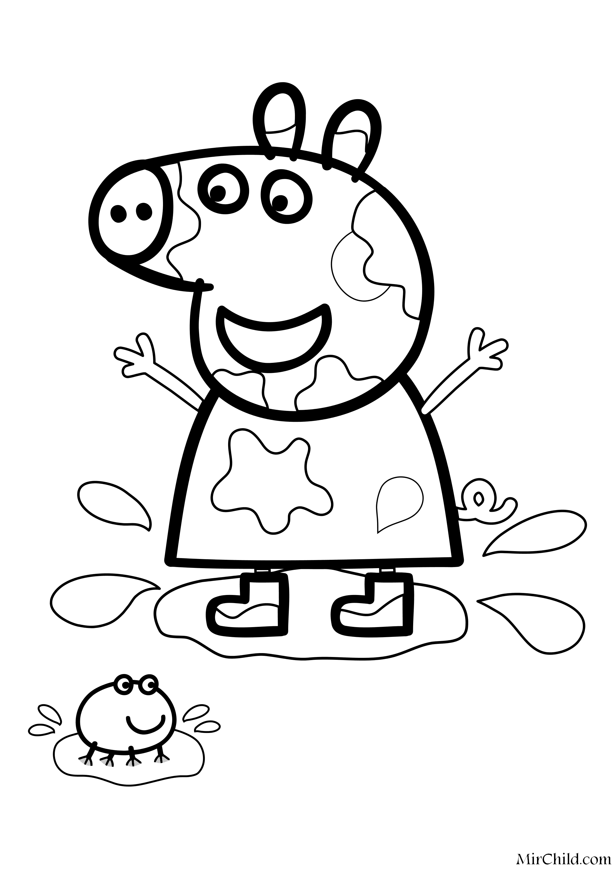 Раскраска - Свинка Пеппа - Свинка Пеппа прыгнула в лужу ...