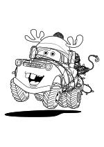 Раскраска - Тачки 2 - Мэтр обмотан новогодней гирляндой