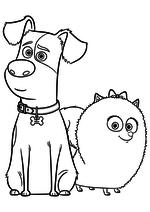 Раскраска - Тайная жизнь домашних животных - Макс и Гиджет