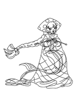 Раскраска - Три богатыря и морской царь - Любава - русалка