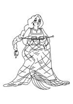 Раскраска - Три богатыря и морской царь - Настасья - русалка