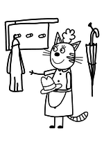 Раскраска - Три кота - Мама - кошка