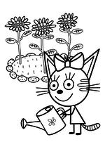 Раскраска - Три кота - Карамелька поливает цветочки