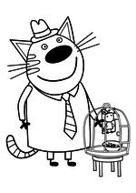 Раскраска - Три кота - Папа - кот с птичкой