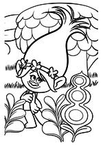 Раскраска - Тролли - Розочка в сказочном лесу