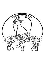 Раскраска - Тролли - Сатинка, Розочка и Синелька