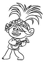 Раскраска - Тролли. Мировой тур - Королева Розочка