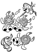 Раскраска - В поисках Немо - Марлин, Дори и черепашки