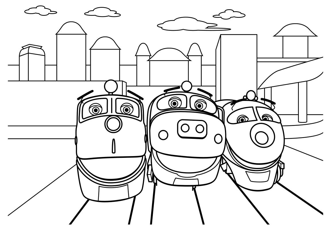 Раскраска - Весёлые паровозики из Чаггингтона - Уилсон, Брюстер и Коко