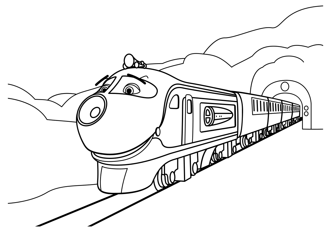Раскраска - Весёлые паровозики из Чаггингтона - Коко выезжает из тоннеля