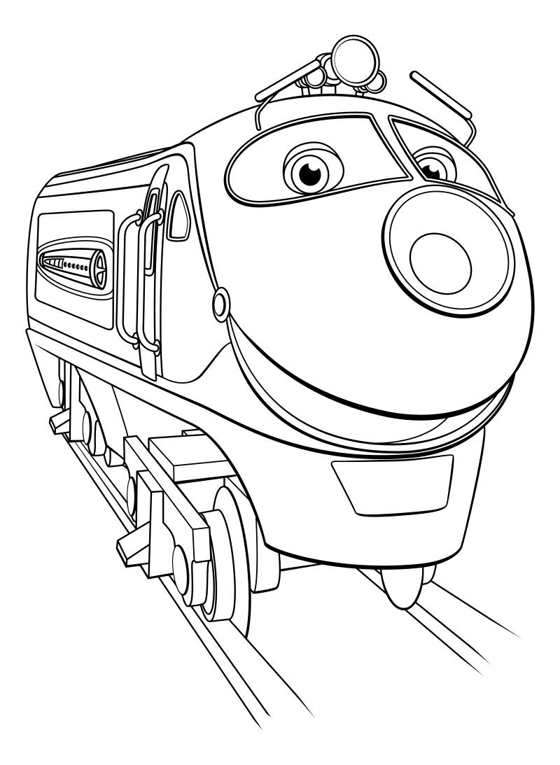 Раскраска - Весёлые паровозики из Чаггингтона - Коко - паровозик-девочка