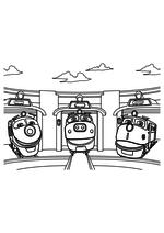 Раскраска - Весёлые паровозики из Чаггингтона - Коко, Брюстер и Уилсон
