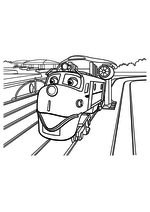Раскраска - Весёлые паровозики из Чаггингтона - Уилсон с турбинами