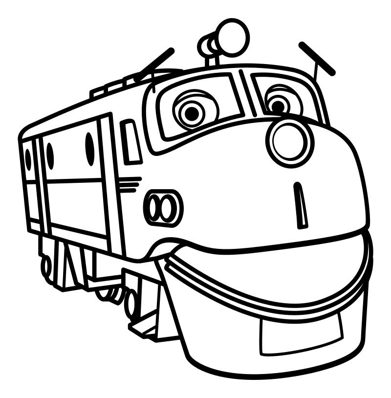 Раскраска - Весёлые паровозики из Чаггингтона - Уилсон - паровозик-стажёр