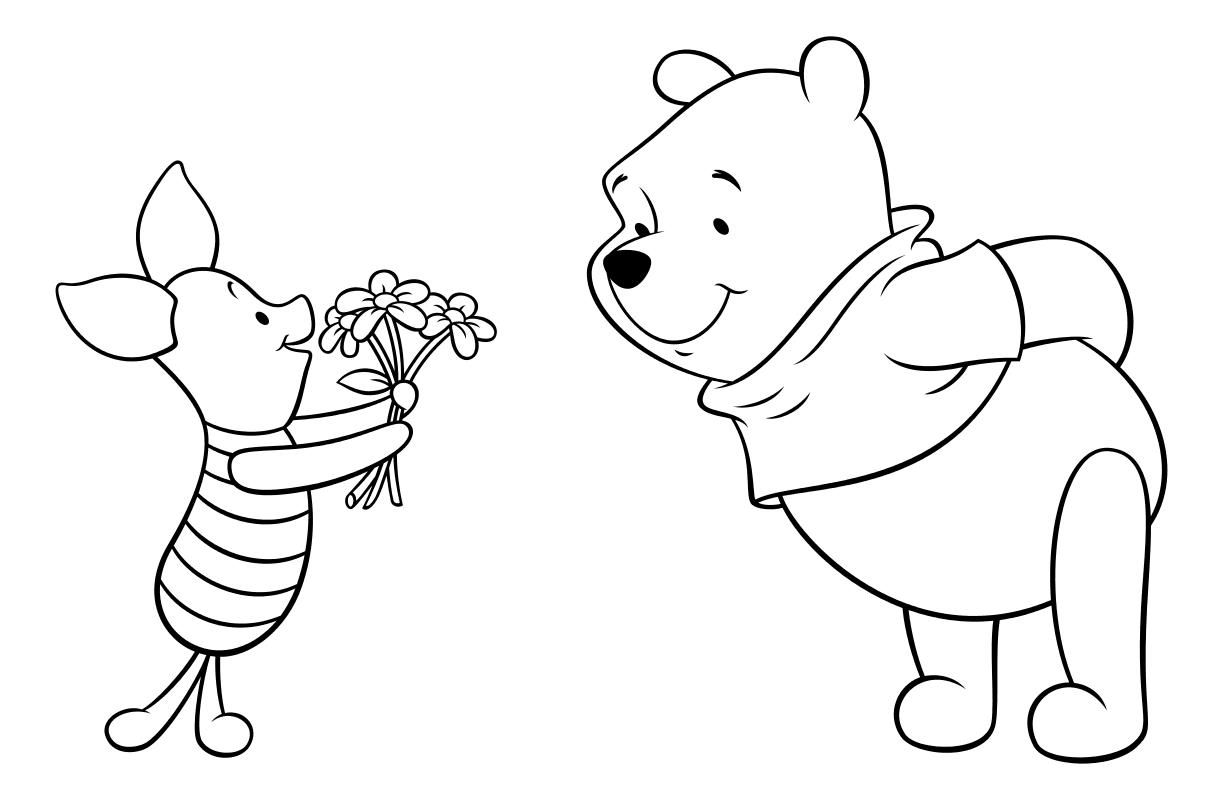 Раскраска - Винни-Пух (Дисней) - Пятачок дарит Винни-Пуху цветы