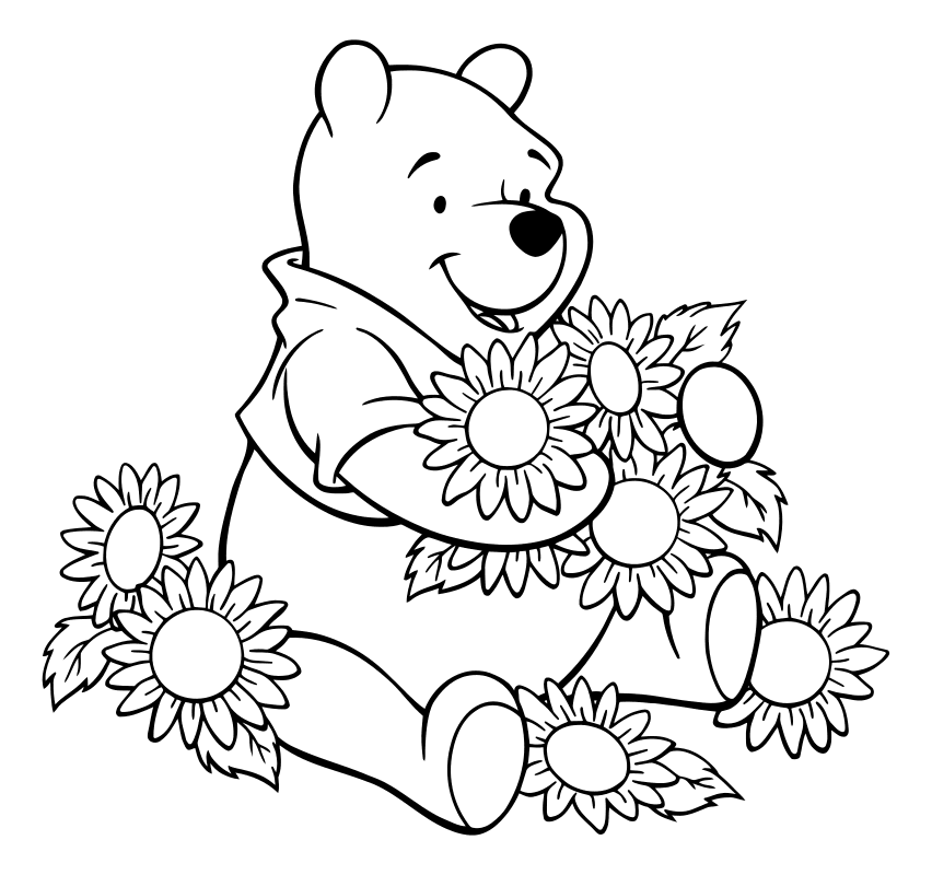 Раскраска - Винни-Пух (Дисней) - Винни-Пух с цветами ...