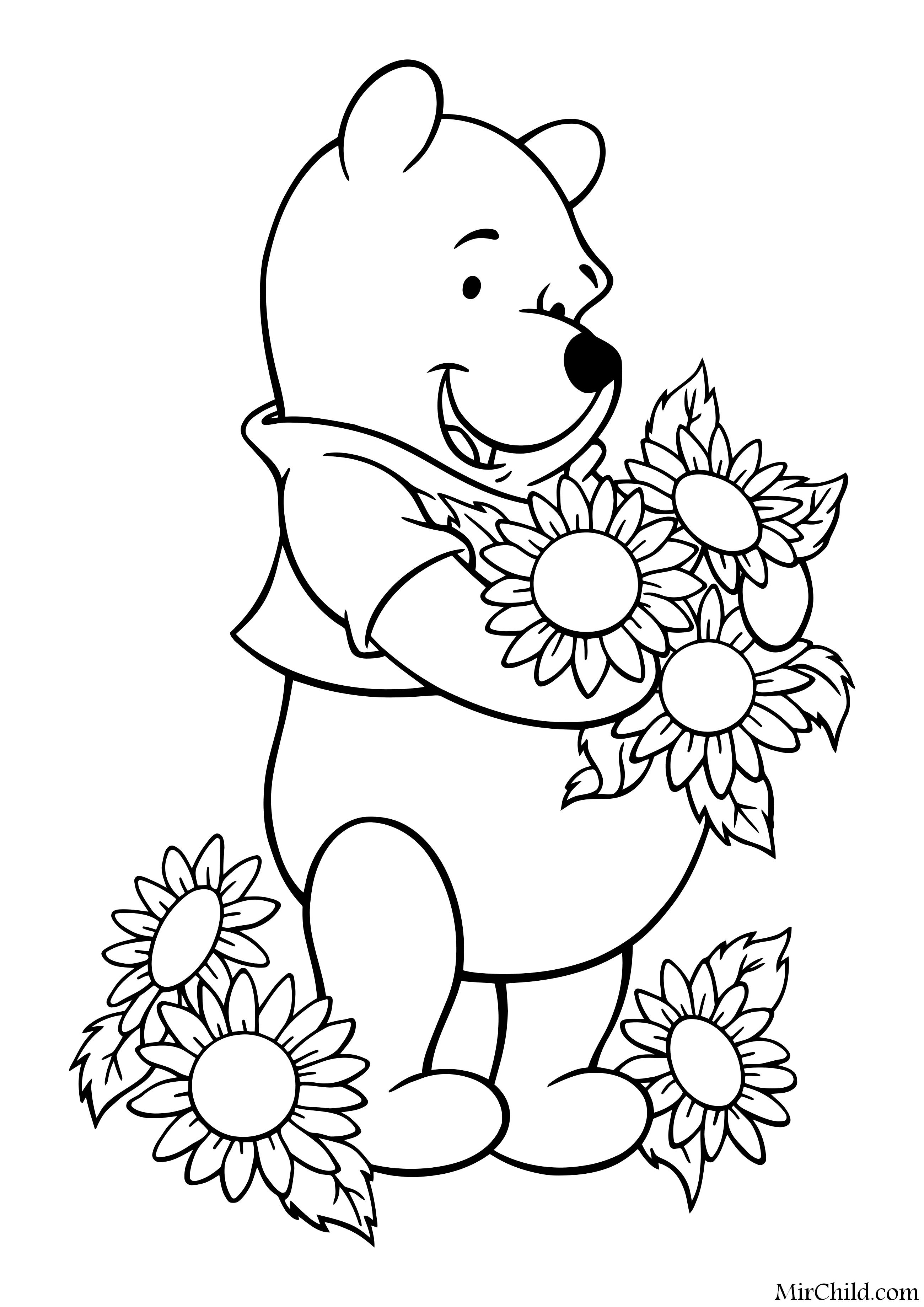 Раскраска - Винни-Пух (Дисней) - Винни-Пух и цветы | MirChild