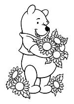 Раскраска - Винни-Пух (Дисней) - Винни-Пух и цветы