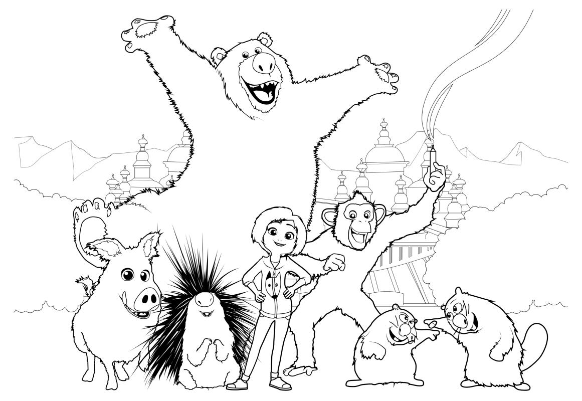 Раскраска - Волшебный парк Джун - Джун и её друзья
