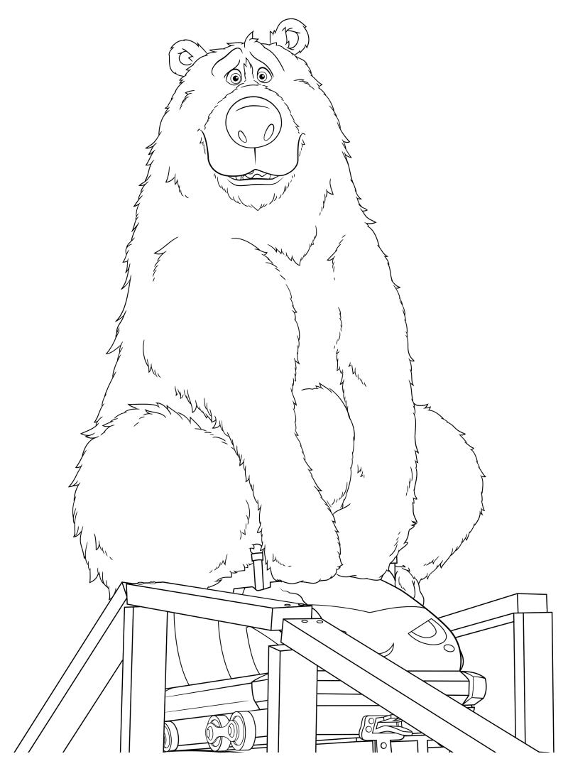 Раскраска - Волшебный парк Джун - Медведь Бумер