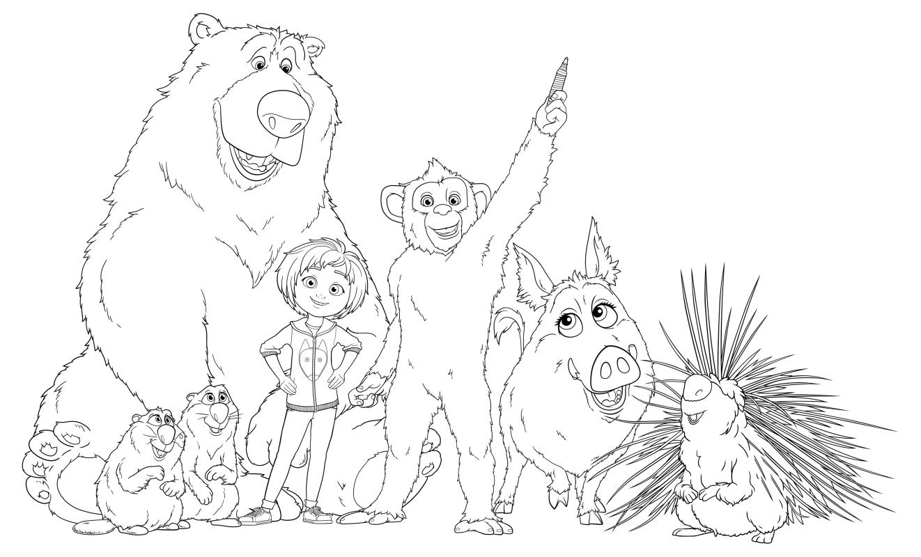 Раскраска - Волшебный парк Джун - Бумер, Гас, Купер, Джун, Орешек, Грета и Стив