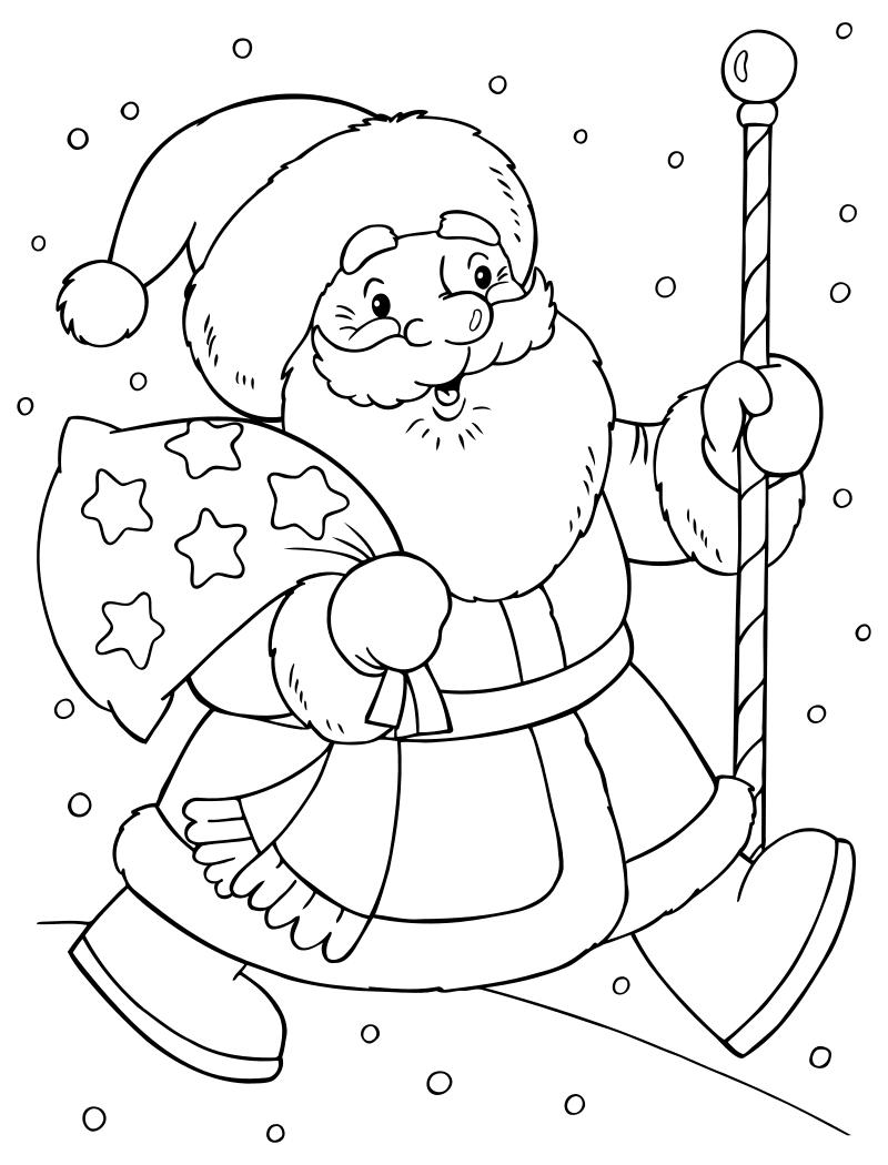 Раскраска - Новый год - Дед Мороз несёт подарки